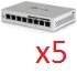 UBIQUITI :: (US-8-60W-5) UniFiSwitch, 8, 60W, 4 port PoE, 5-pack, includes power supply